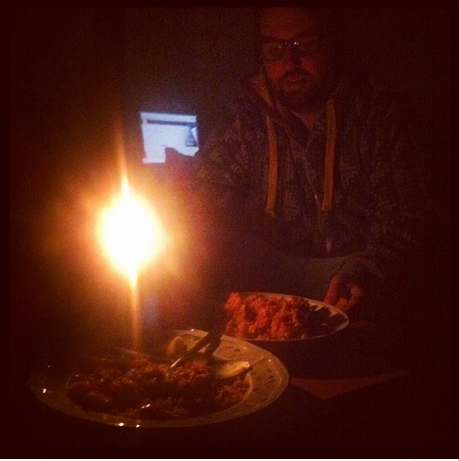 Candlelight dinner for two.