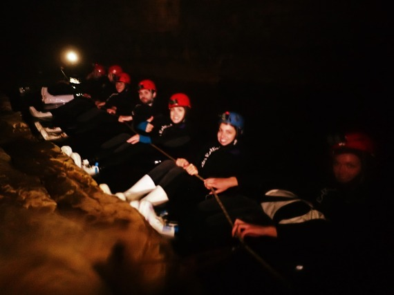 Rafting down the tunnel