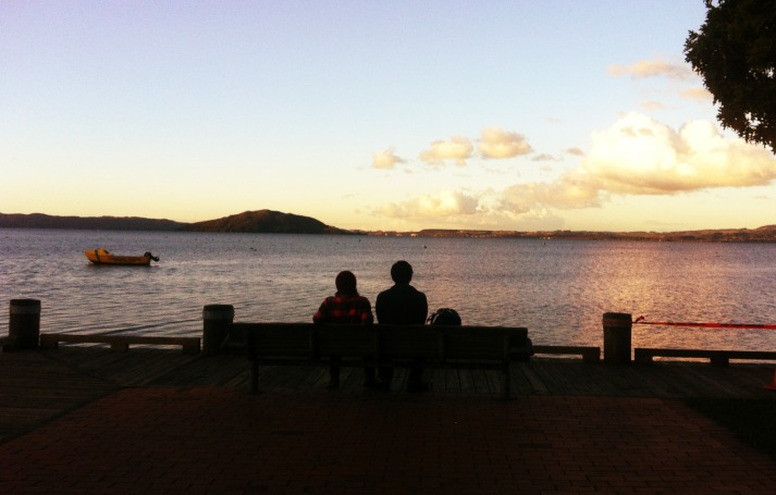Admiring the view at Lake Rotorua